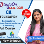 CA Foundation Business Laws, Business Correspondence & Recording Full Course by Urmila Zaware